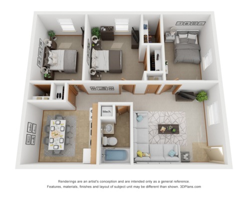 PineView Apartment Detail 3 bedroom 1 bathroom