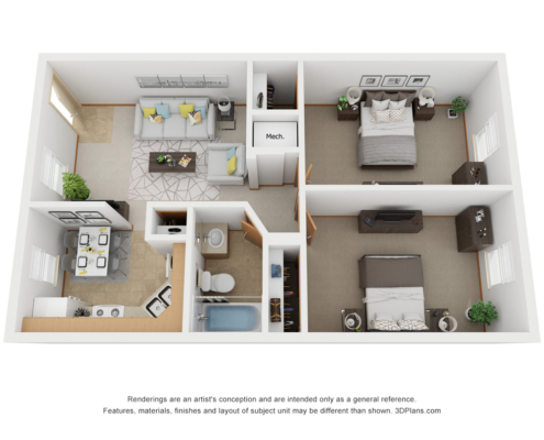 PineView Apartment Detail 2 bedroom 1 bathroom